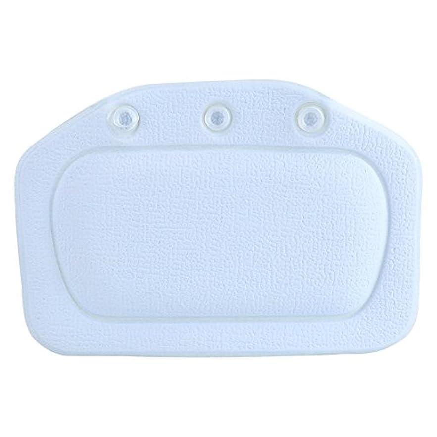 すき移動する温度スパバスピロー、ソフトフォームパッド付き人間工学に基づいたバスタブクッションピロー浴槽ヘッドレストヘッドネックバッククッションピロー(青)