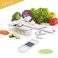 プレミアム野菜チョッパー野菜フルーツダイサー - ZOORE Syoleeフードカッター、交換可能ブレード3枚、フードコンテナー、クリーニングブラシ、ポテトトマトオニオンニンジンサラダキュウリに最適
