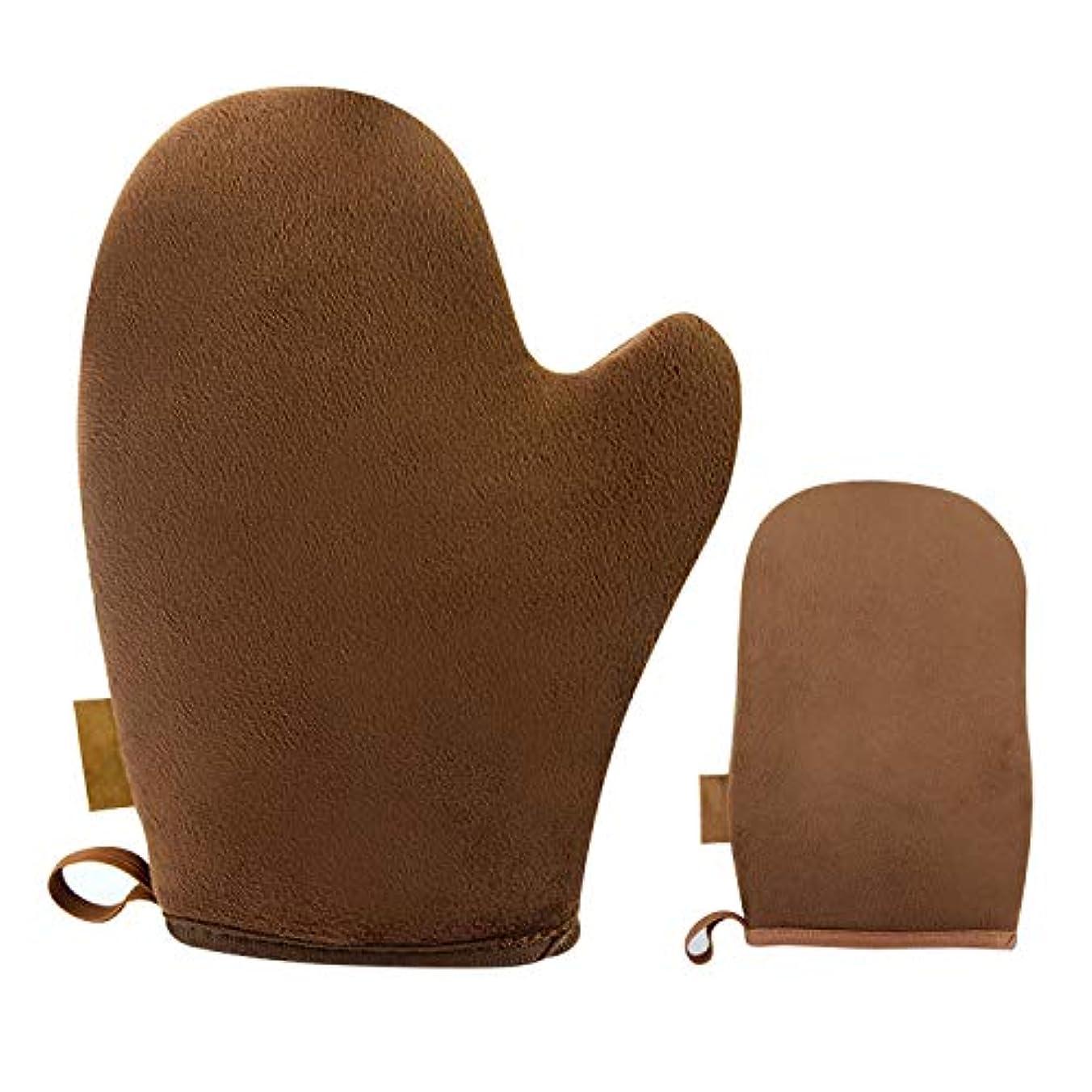 切手瞑想的経過Migavann セルフタンニングミット タンニングミット 1PCS再利用可能な洗える日焼け止めセルフタンニングミットグローブアプリケーター+ 1PCSミニフィンガーミット