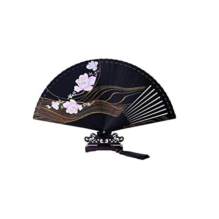 チャンバー統治する歯KATH ファン、中国風の手のファン、扇子、黒の扇子