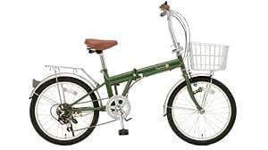 TOP ONE シマノ6段ギア搭載 折畳自転車 カゴ付 20インチ モスグリーン