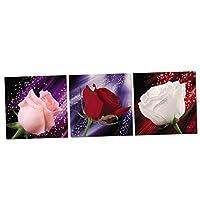 monkeyjack 3パネル現代Gicleeキャンバス印刷Romantic Rosesアートワーク画像絵画キャンバス壁装飾工芸 60 x 60cm 819cde3f0932e46de920dd938ab3da58