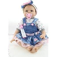 Nicery 生まれ変わった赤ちゃんのおもちゃの人形ソフトシミュレーションシリコーンビニール22インチ55センチメートル磁気口本物そっくりのおもちゃプリンセススマイル女の子 Blue Flower Heart
