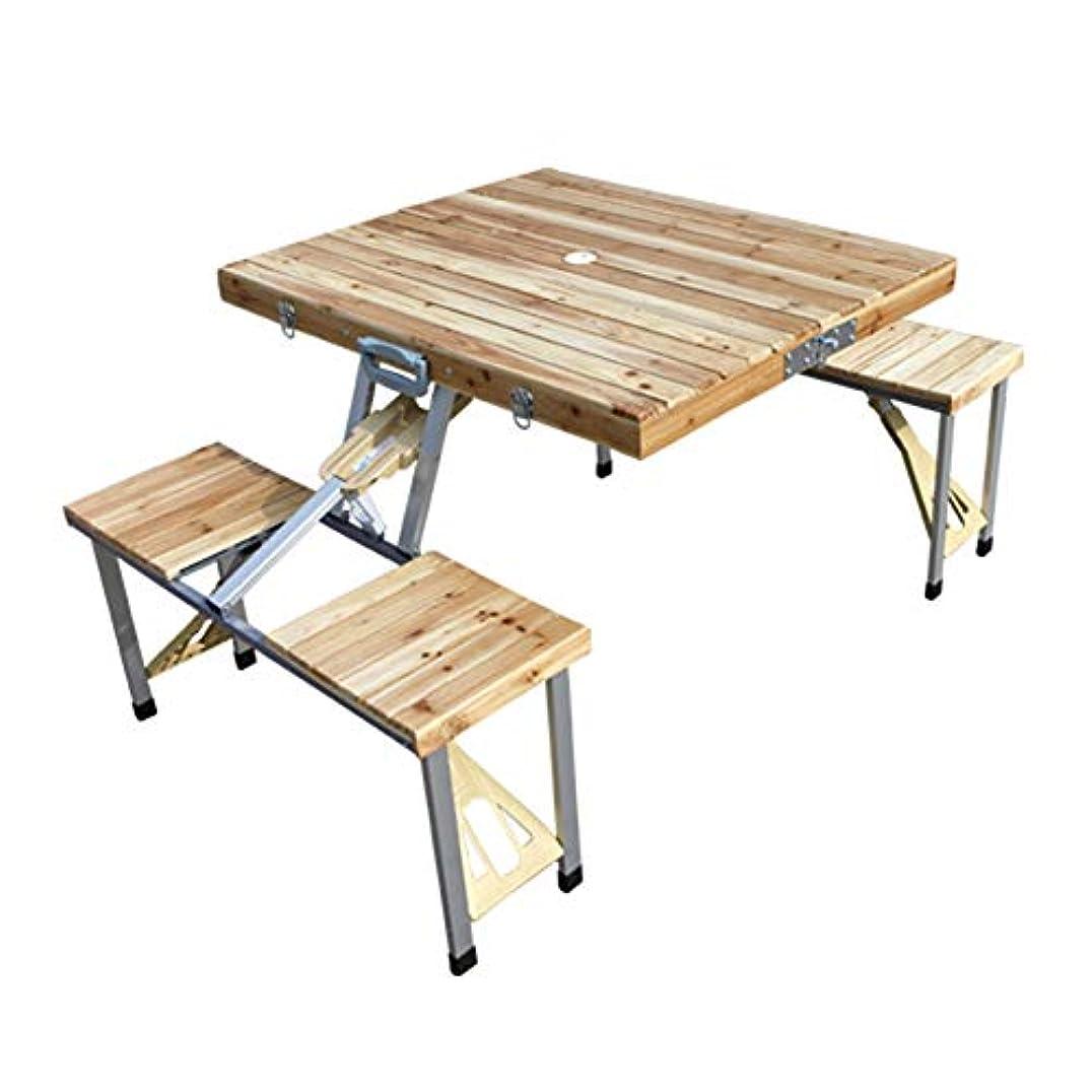 不名誉な付けるマルクス主義者折り畳みテーブル アウトドア キャンプテーブル 椅子、 ソリッドウッド パイン シャムスタイル ピクニック バーベキュー ダイニングテーブル、 85.5 * 67.5 * 67Cm
