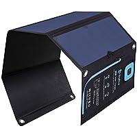 28W ソーラーチャージャー 液晶電流計 ソーラー充電器 BigBlue 2USBポート ソーラーパネル 折り畳み式 防水 カラビナ付き キャンプ 山登り アウトドア iPhone iPad Android各種対応