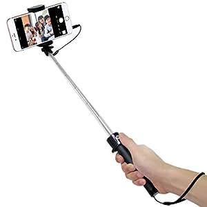 SIDARDOE 自撮り棒 セルカ棒 有線 シャッターボタン付け iphone android スマートフォン対応 ブラック