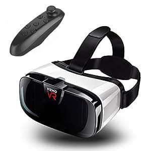 Rakuya VR ゴーグル 第二世代【3D VR 2016年8月最新型 押し込み式】ピント&視野を独自調整可能 透明カバー よいつけ心地 高品質非球面レンズ 105°視角 高没入感 600度以下の近視者に対応 4-6.5インチのスマートフォンに対応 iphone7/7 plus 仮想現実 VRメガネ 3D眼鏡 (改良のリモコン付き)