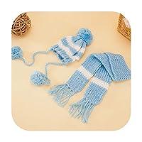 犬の冬暖かいブルーピンクストライプかわいいボール帽子,Blue,L