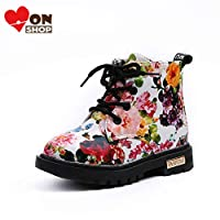 [MonShop] 男の子女の子ブーツエレガント花柄フラワープリントスニーカー子供靴ブーツ赤ちゃん幼児マーティンブーツレザー子供ブーツ (8, White)