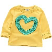 ALLAIBB ベビー Tシャツ 長袖 キッズ ロングtシャツ 女の子 春 秋 心柄 可愛い 赤ちゃん トップス 普段着 size 80 (イエロー)