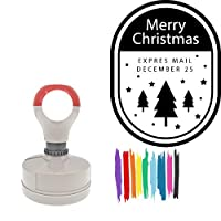 Merry Christmas Expres Mail December25 Round Badge Style Pre-Inked Stamp, Light Blue Ink Included