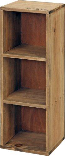 RoomClip商品情報 - 不二貿易 木製 3段 ボックス  アンティーク風 ブラウン 91750
