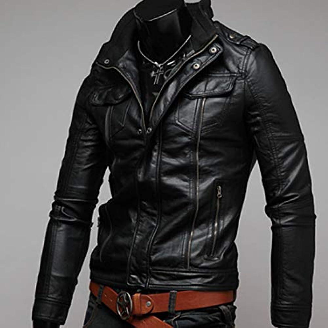 まろやかな拒否抑制するファッションクールオートバイレザージャケットコートトレンディなデザイン男性コートユニセックス生き抜く快適な男性服-ブラックL