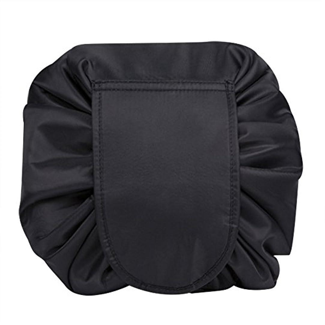 マジックポーチ 化粧バッグ 化粧ポーチ レイジー化粧バッグ トラベルバッグ メイクバッグ 容量大きい ブラック