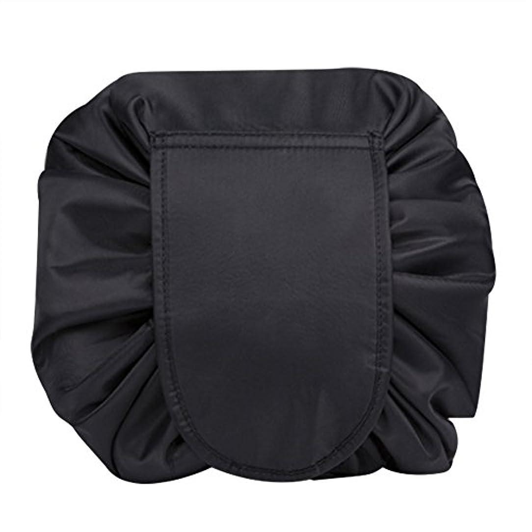 変化ペインティング郵便屋さんマジックポーチ 化粧バッグ 化粧ポーチ レイジー化粧バッグ トラベルバッグ メイクバッグ 容量大きい ブラック