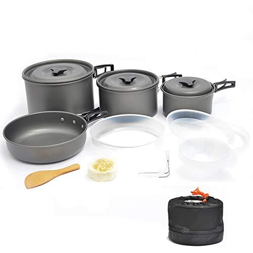 Bebiwa キャンプクッカー クッカーセット アウトドア鍋 アルミ 調理器具 セット キャンピング鍋 キャンプ 鍋セット アウトドア 収納袋付き 4-5人対応