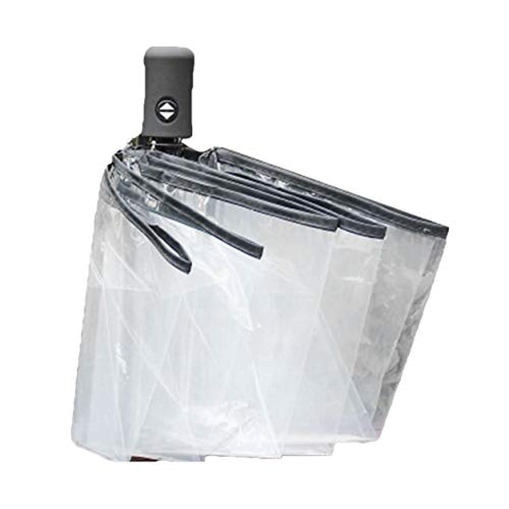 買収カイウスパニックSaikogoods コンパクト 全自動傘 三の折りたたみ 防風性 クリア傘女性男性8リブ防雨透明な傘のギフト 黒