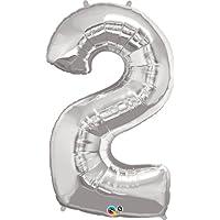 クォラテックス社バルーン数字 (2)大きさ約90センチ シルバー Qualatex number big baloon お誕生日 飾り 数字 ナンバー
