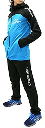 [ソレイルドール] ランニングウェア 上下セット ドライ スポーツ パーカー ジャージ ジョガー パンツ メンズ L ターコイズ