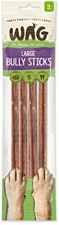 Watch & Grow Food Co Large Bully Sticks Dog Treat, 4 Pack, Large