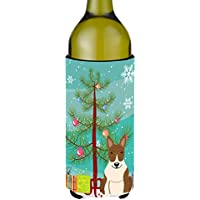 Carolines Treasures BB4262LITERK Merry Christmas Tree Bull Terrier Brindle Wine Bottle Beverge Insulator Hugger