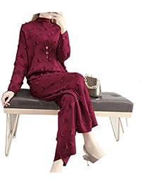 レディース セーター ニットパンツ 2点セット ファッション服 春秋 スーツ カジュアル ゆったり レディース 3色
