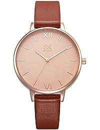 SK レディース 腕時計 超薄高級感 女性 腕時計 大理石 ファッション腕時計 ラグジュアリー 日本製 ウオッチ (ブラウン)