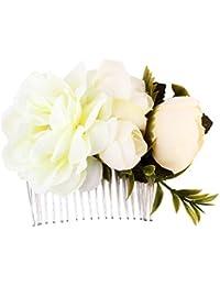 Perfeclan 花嫁の結婚式の花diamanteクリスタルのラインストーンの女性の髪の櫛のヘッドピース - E