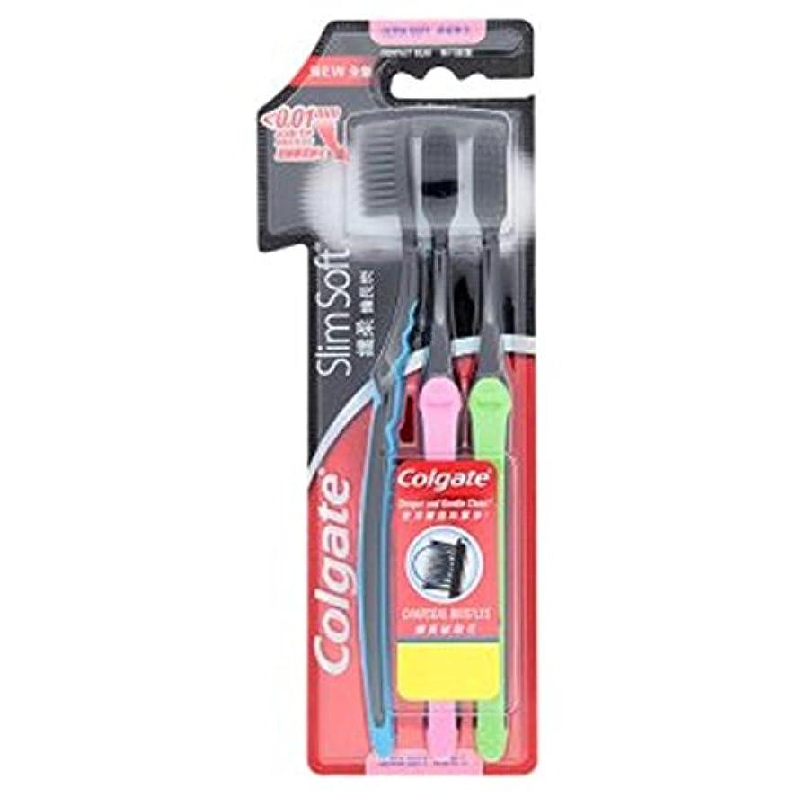 エンドテーブル疑問に思う眉をひそめるColgate Slimsoftコンパクトヘッドウルトラソフトチャコール剛毛歯ブラシ。