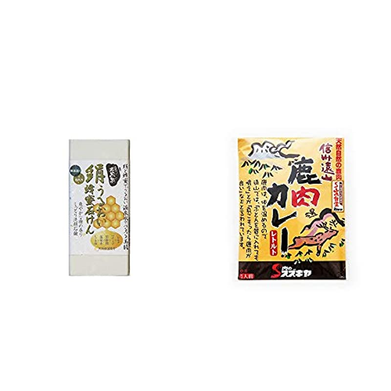 逆ずるい意欲[2点セット] ひのき炭黒泉 絹うるおい蜂蜜石けん(75g×2)?信州遠山 鹿肉カレー 中辛 (1食分)