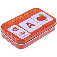 Dovewill 赤ちゃん 早期教育  認知カード セット  パズル 箱付き 子供  漢語と英語の向上  おもちゃ 全8種類   - 56本アルファベット
