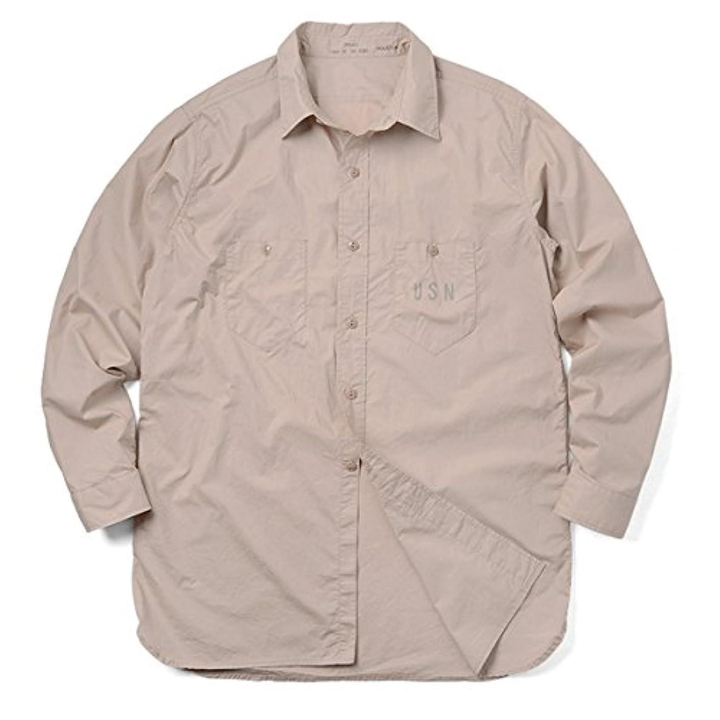 スクラップナット威信HOUSTON ヒューストン 40369 U.S.NAVY ポプリンシャツ(13.5 KHAKI)