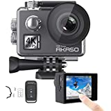 AKASO V50 Elite 4K/60fps Touch Screen WiFi Action Camera Voice Control EIS 40m Waterproof Camera Adjustable View Angle 8X Zoom Remote Control Sports Camera with Helmet Accessories Kit