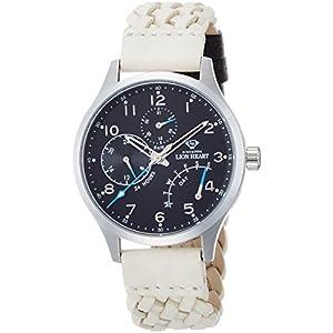 [ライオンハート]Lion Heart 腕時計 W105 ステンレススチール アイボリー編み込みレザー ブラック文字盤 マルチファンクション クォーツ 日常生活防水 LHW105BKIV 腕時計