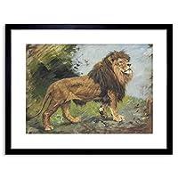 "Painting Verstagh A Lion Walking 9x7"" Framed Wall Art Print"