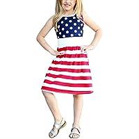BANGELY Kids Girls Summer America Flag Style Print Sleeveless Stripe Polka Dot Print Pleated Tutu Dress