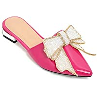 BalaMasa Womens Bows Assorted Colors Travel Leather Sandals ASL05785