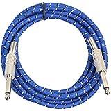 Perfk ギターケーブル 楽器用 低ノイズ 柔らかい 6.35mm ジャック 1.8m/3 m  編みコード ブルー   - 3m