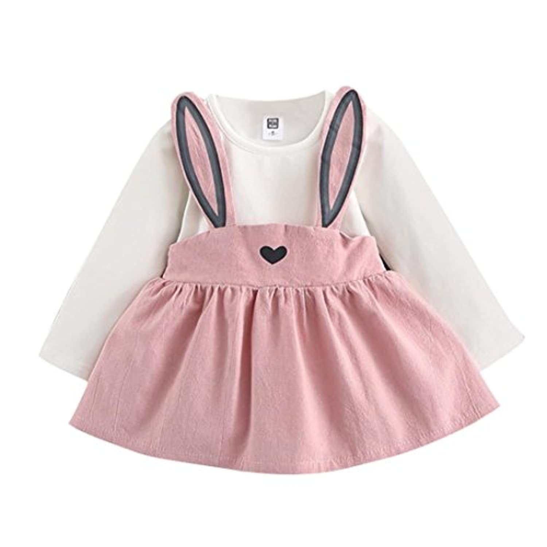 杜屋トヤ 新生児服 ベビーかわいい長袖ウサギデザインスカート 秋 冬 カジュアル お出かけ プレゼント 女の子 ガールズ 赤ちゃん