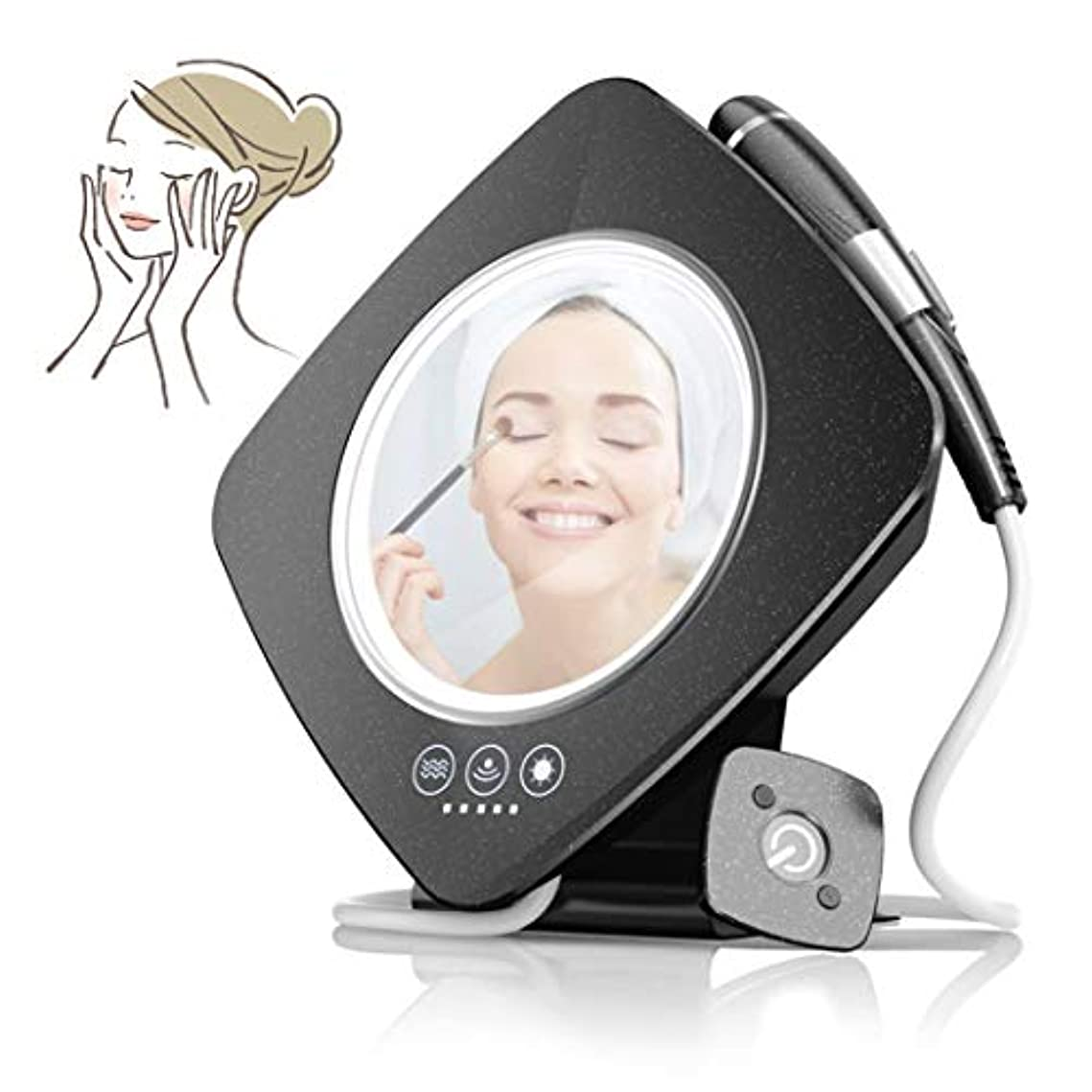 自動的に応援するストレージフェイシャルネックマッサージャーアンチリンクル高周波顔機械専門の皮の顔の反しわの美機械頻度装置-black