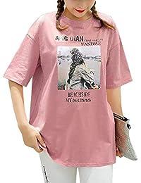 tシャツ レディース 半袖 トップス カットソー 英字プリント ラウンドネック ゆったり オーバーサイズ 綿シャツ オフ/ブラック/ネイビー