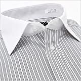 長袖ワイドカラー ライトグレーストライプ ワイシャツ ワイドカラー 長袖ワイシャツ メンズ 長袖 Yシャツ 3Lサイズ
