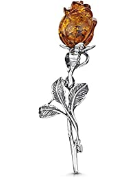 Amberta 925 Sterling Silver with Genuine Baltic Amber - Rose Brooch/Pin for Women - Honey Stone Colour