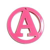 アンシャンテ工房 チャーム (お好きなアルファベットをお選びいただけます)自社工房 アクリル製丸枠透かしアルファベットチャーム (直径3cm 厚さ2mm) オリジナルキーホルダー作り