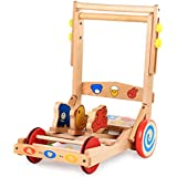 Baby Walker, Push Along Toy for 1-2 Year Old, Wooden Wagon for Kid, Children Mobility Walker, Learning 4 Wheel Walker for Girl/Boy