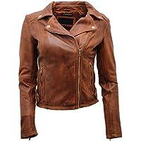 Ladies Coniac Tan Vintage Brando 100% Leather Biker Jacket