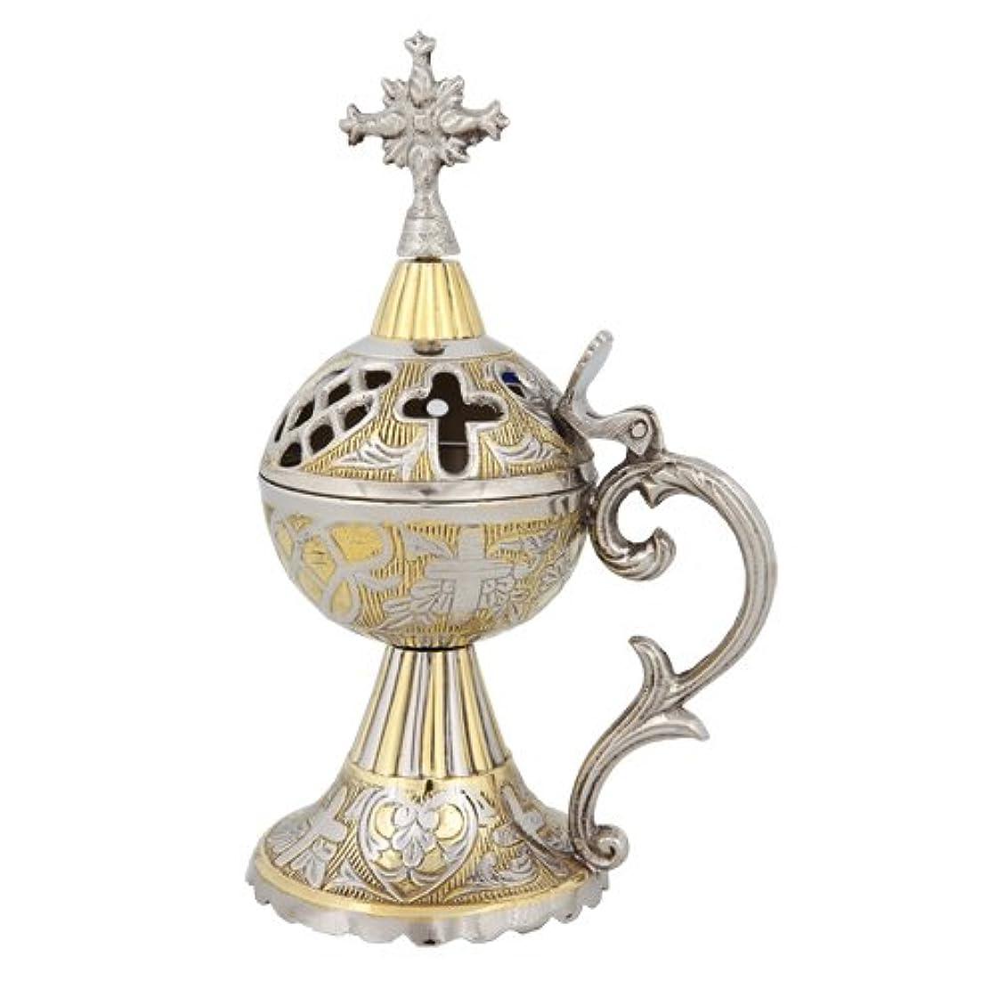尽きる食堂まだらギリシャ正教会2つトーン香炉香炉( 4097 GN )