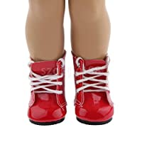 "Lace Up Martin Boots Shoes FOR 18"" AMERICAN GIRL AG Journey My Life Doll Red"