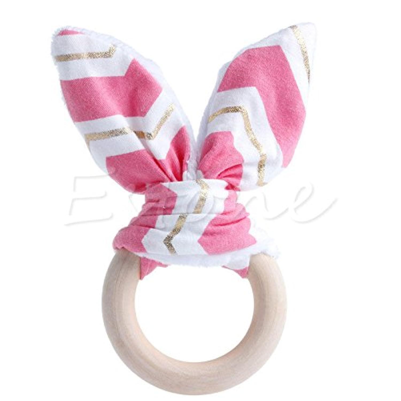 ホットピンク&ゴールドsafety-wooden-natural-baby-teething-ring-chewie-cute-teether-bunny-sensory-toy