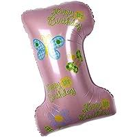 Dovewill ベビーシャワー 誕生日 1歳 アルミニウムフィルムバルーン 風船 デコレーション 飾り付け 撮影用 全2色 - ピンク